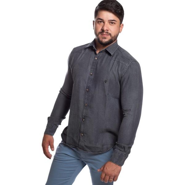 Camisa Jeans Masculina Manga Longa Zegen
