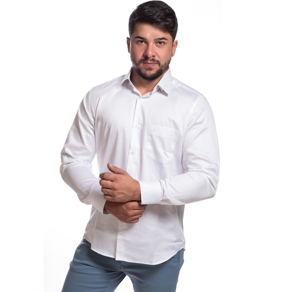 Camisa Masculina Manga Longa Zegen Branca