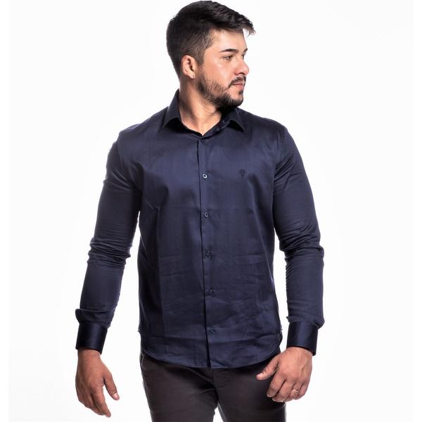 Camisa Masculina Manga Longa Zegen Azul Escuro