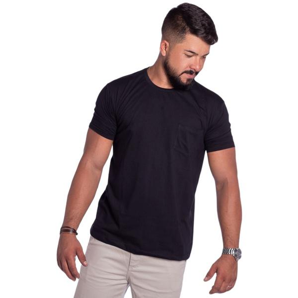 Camiseta Masculina Com Bolso Zegen Preta