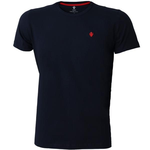 Camiseta Masculina Básica Confort Azul Marinho Detalhe Vermelho
