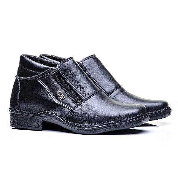 Sapato zíper couro vaqueta preto