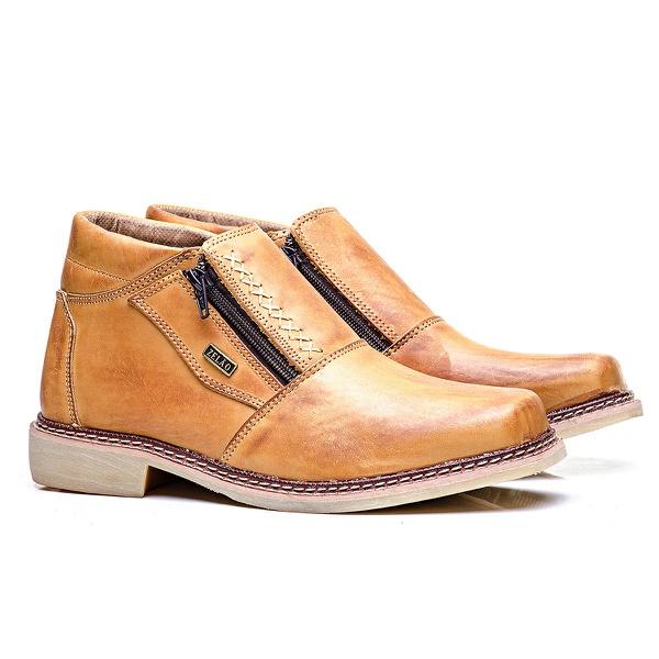 Sapato zíper couro látego havana