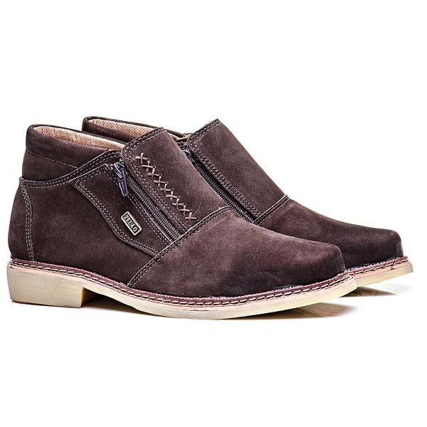 Sapato zíper couro nobuck café