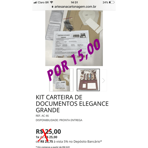 KIT CARTEIRA DE DOCUMENTOS ELEGANCE GRANDE