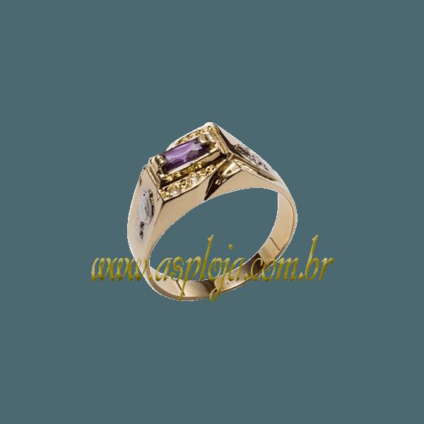 Anel de Formatura Ouro amarelo 18k 750 com pedras laterais em diamantes-ASP-AF-107