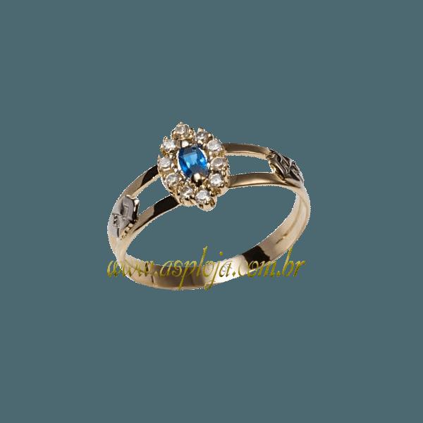 Anel de formatura em Ouro amarelo 18k 750 com pedras laterais em diamantes-ASP-AF-110