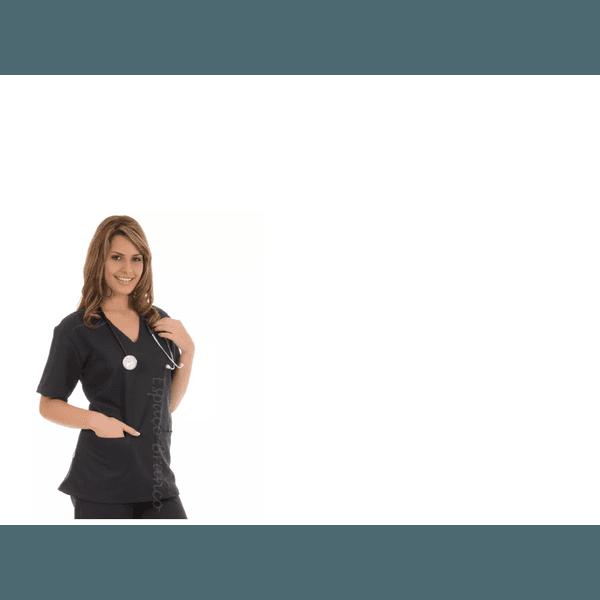 blusa Cirúrgica unissex em Microfibra Gola V Manga Curta - Preta