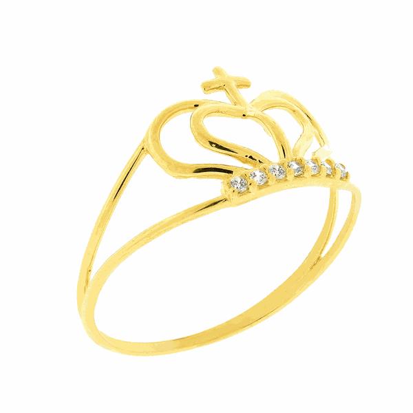 Anel de Ouro 18K Coroa Pequena com Zirconias
