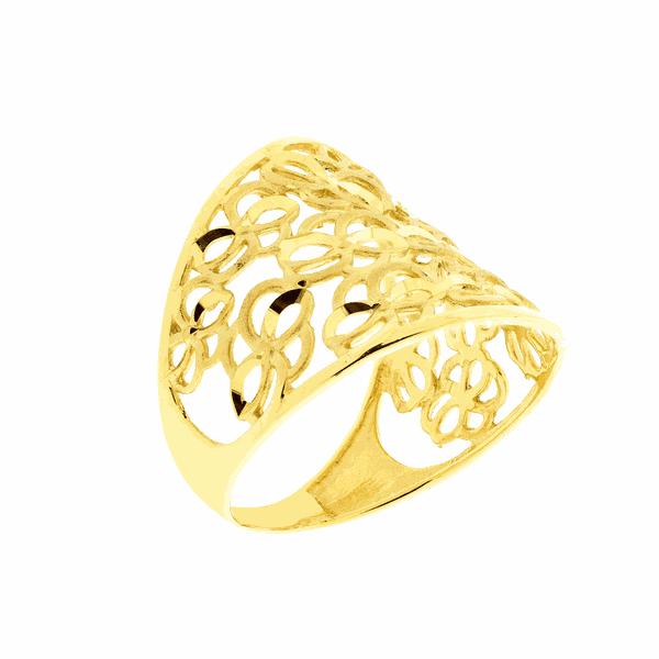Anel de Ouro Amarelo 18K Detalhe Vazado em Formato de Flor