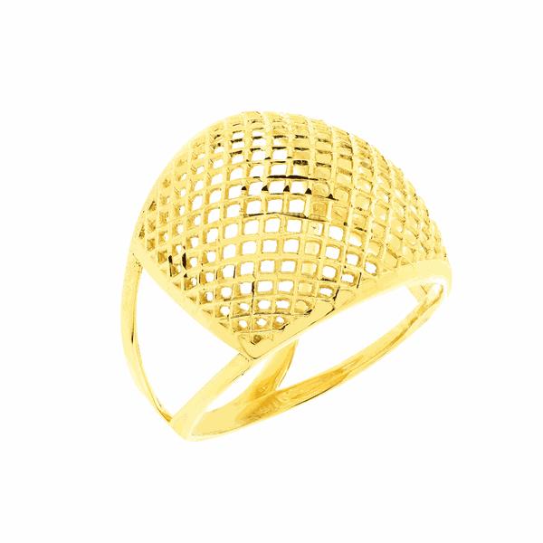 Anel de Ouro Amarelo 18K Abaulado Vazado