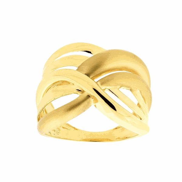 Anel de Ouro Amarelo 18K Feminino com Detalhes Foscos