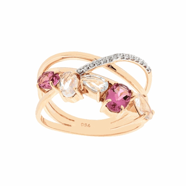 Anel em Ouro Rosé 18K com Turmalina, Quartzo, Topázio e Brilhantes