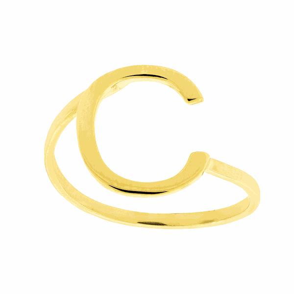 Anel de Letra C em Ouro 18K