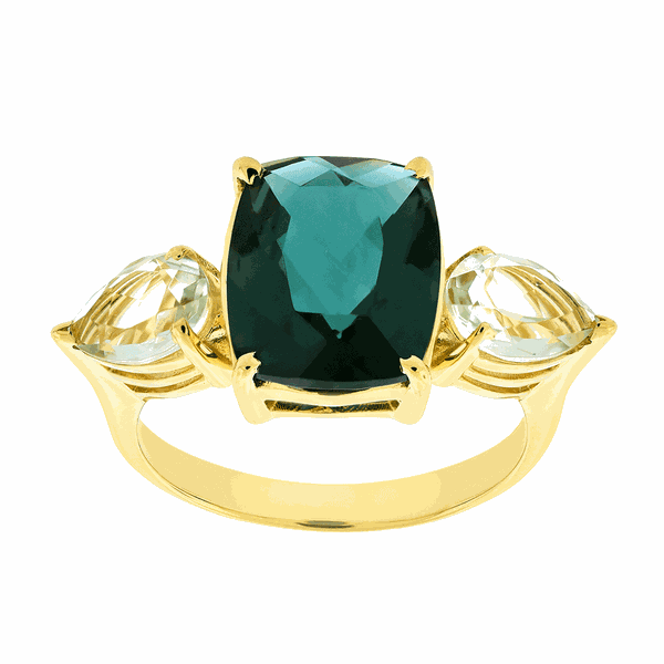 Anel de Ouro 18K Pedras de Topázio Verde e Prasiolitas