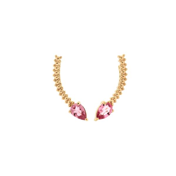 Brinco Ear Cuff Ouro Rosé 18K Pedra Turmalina Rosa