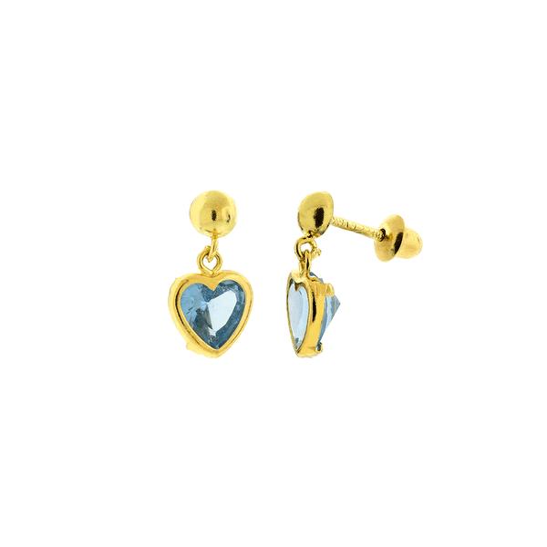 Brinco Infantil Ouro 18K Coração Zircônia Azul Pendurado