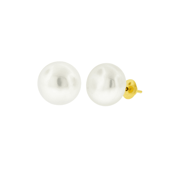 Brinco de Pérola Ouro 18K Biwa Botão 10mm