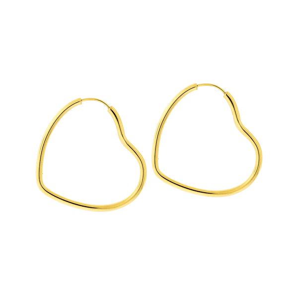 Brinco Argola Coração de Ouro 18K 3,0 cm