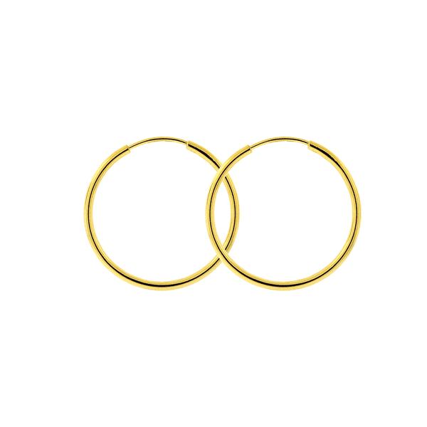 Brinco Argola de Ouro 18K 1,7cm Fio Redondo