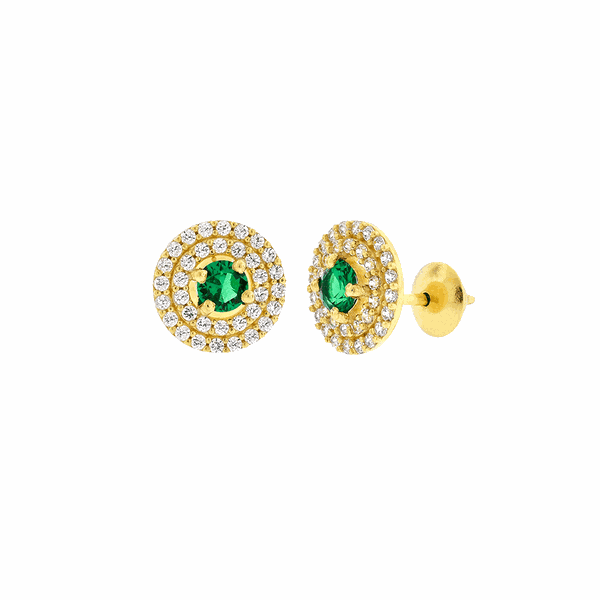 Brinco de Ouro 18K Círculo Pedras de Zircônia Branca e Verde