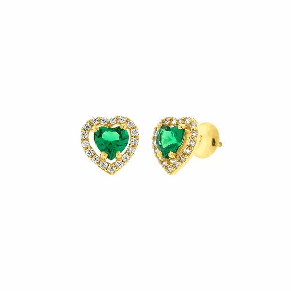 Brinco de Ouro 18K Coração com Zircônias Verde e Brancas