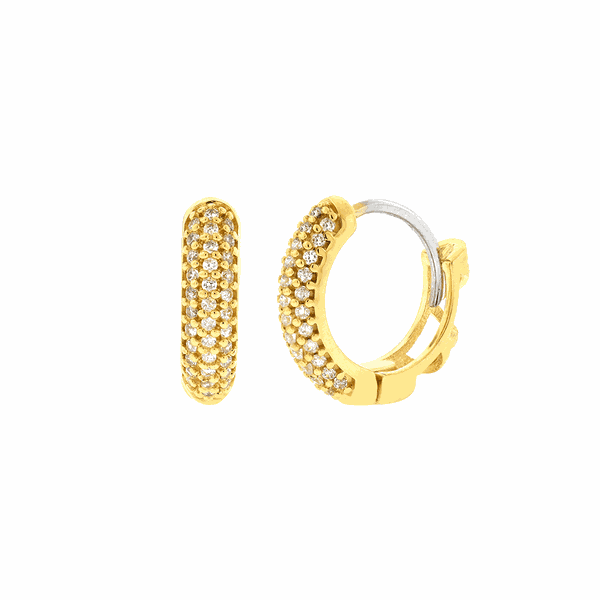 Brinco de Argola em Ouro 18K com Zircônias 1,4cm Fino