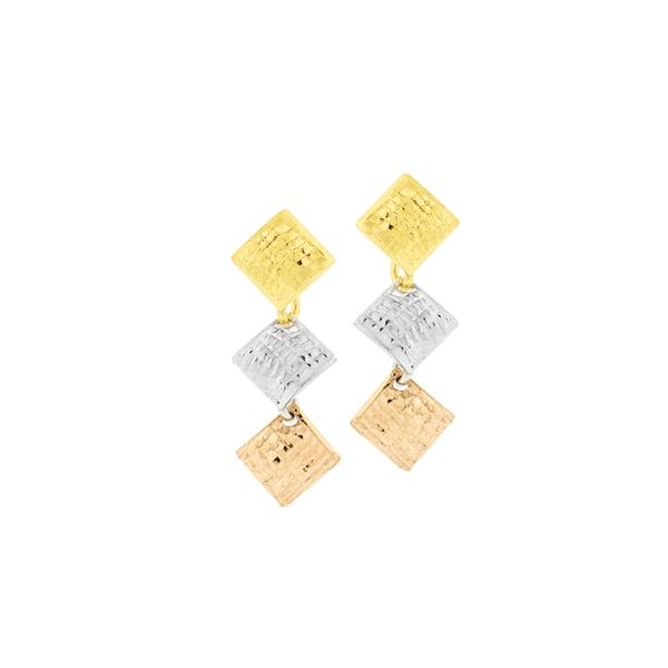 Brinco de Ouro 18K Quadrados Pendentes 3 Cores