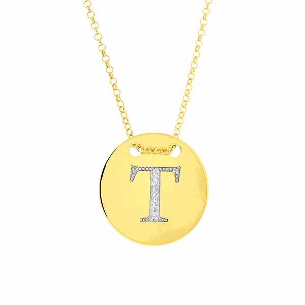 Colar com Letra T em Ouro 18K com Pedras de Brilhante