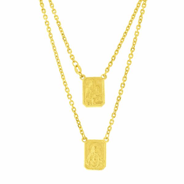Escapulário de Ouro Corrente Cartier com 60cm Placa Média