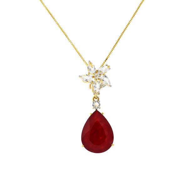 Gargantilha de Ouro 18K Pedra Quartzito Vermelho e Topázio