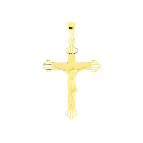 Pingente de Ouro 18K Cruz Polida com Cristo