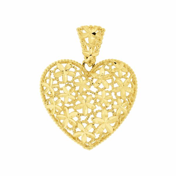 Pingente de Ouro 18K Grande Coração Flores Diamantado