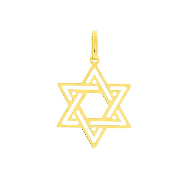 Pingente Estrela de Davi Ouro 18K Médio