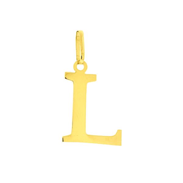 Pingente de Letra L em Ouro 18K