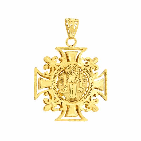 Pingente Ouro 18K São Bento Cruz Malta