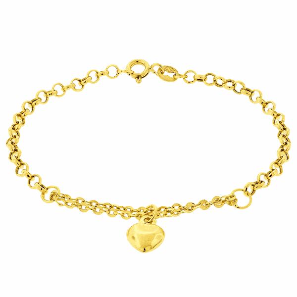 Pulseira Portuguesa de Ouro 18K Pingente Coração 19cm