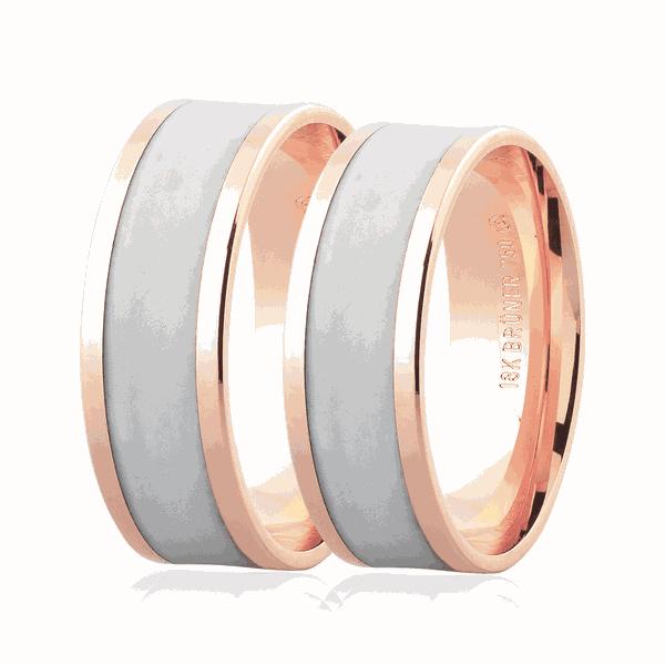 Par de Alianças de Ouro Rosé 18K com Detalhe Pigmentado 7mm
