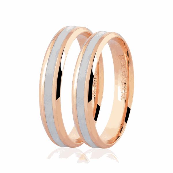 Par de alianças de Ouro Rosé 18K com Detalhe Pigmentado 4mm