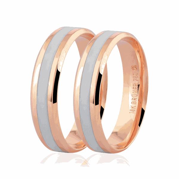 Par de Aliança de Ouro Rosé 18K com Detalhe Pigmentado 5mm