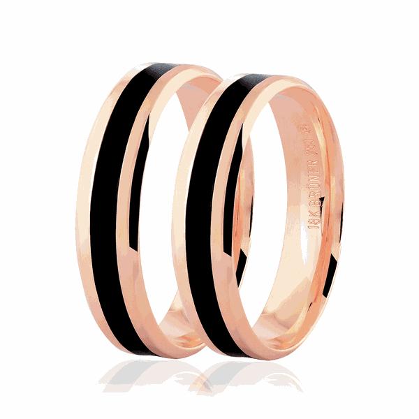 Par de Alianças de Ouro Rosé 18K com Detalhe Pigmentado Negro 5mm