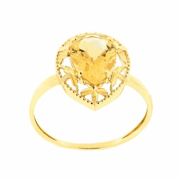Anel de Ouro 18K com Pedra de Citrino Gota