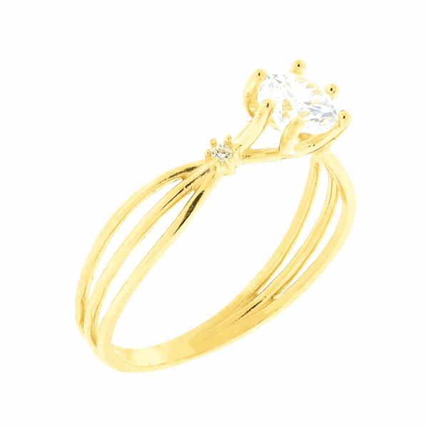Anel de Ouro 18K Solitário com Três Aros e Zirconias