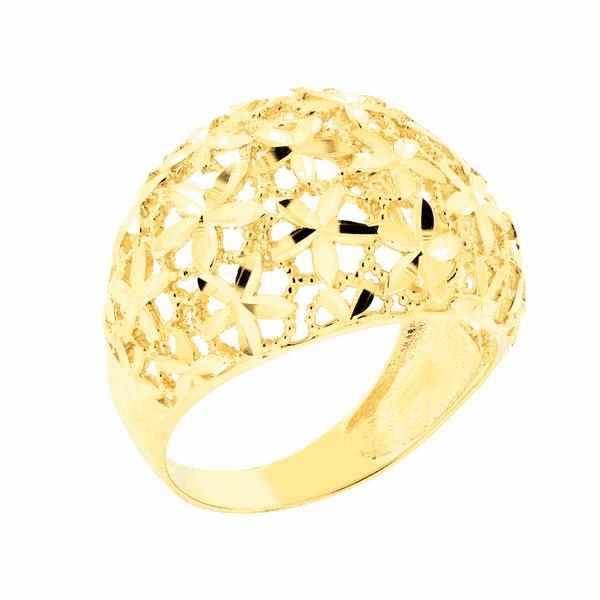 Anel Largo Detalhe Flores em Ouro 18K