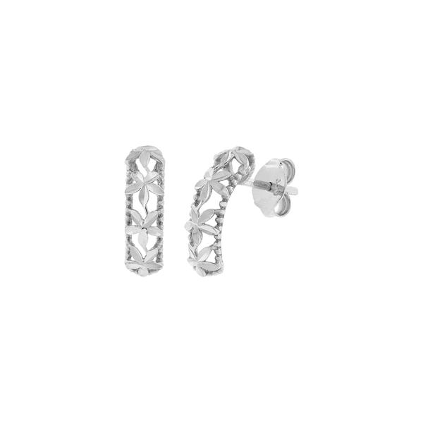 Brinco de Ouro Branco 18K Retangular com Flores Diamantadas