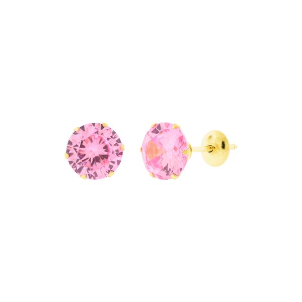 Brinco de Ouro 18K Pedra de Zirconia Rosa 6mm