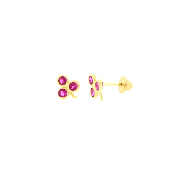 Brinco de Ouro 18K Infantil Cacho de Uva Zirconias Vermelhas