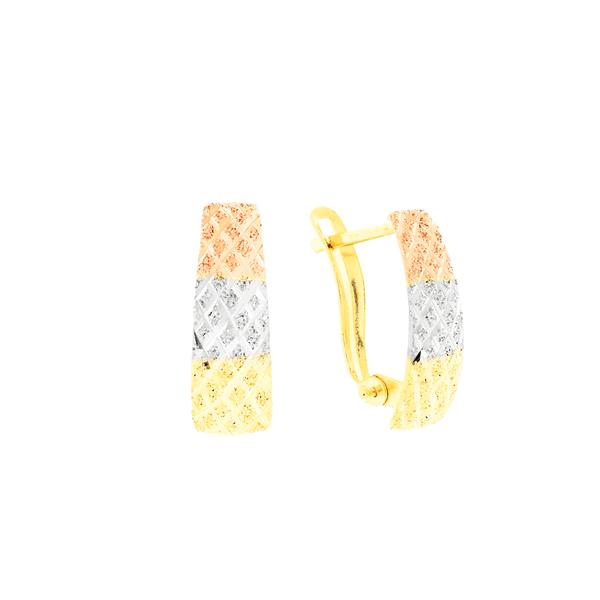 Brinco de Ouro 18K 3 Cores Fecho Trava Diamantado