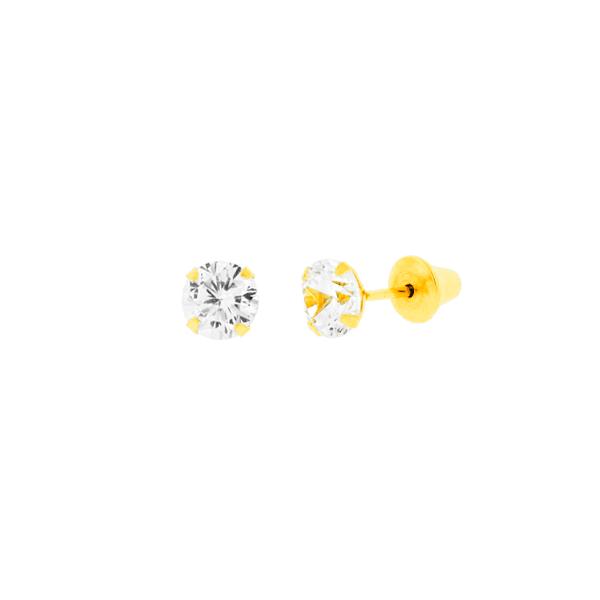 Brinco Ponto de Luz em Ouro 18k - 4mm