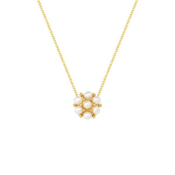 Gargantilha de Ouro 18K Flor de Pérolas